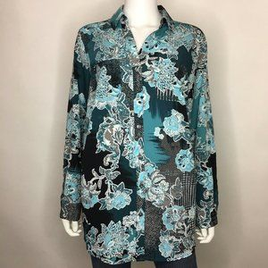 Charter Club Woman Plus Size 0X Dusty Teal Blouse